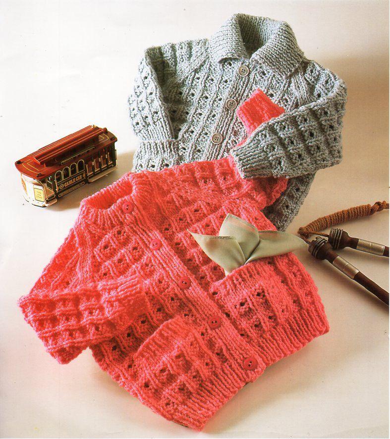 Baby childrens chunky cardigan knitting pattern pdf ...