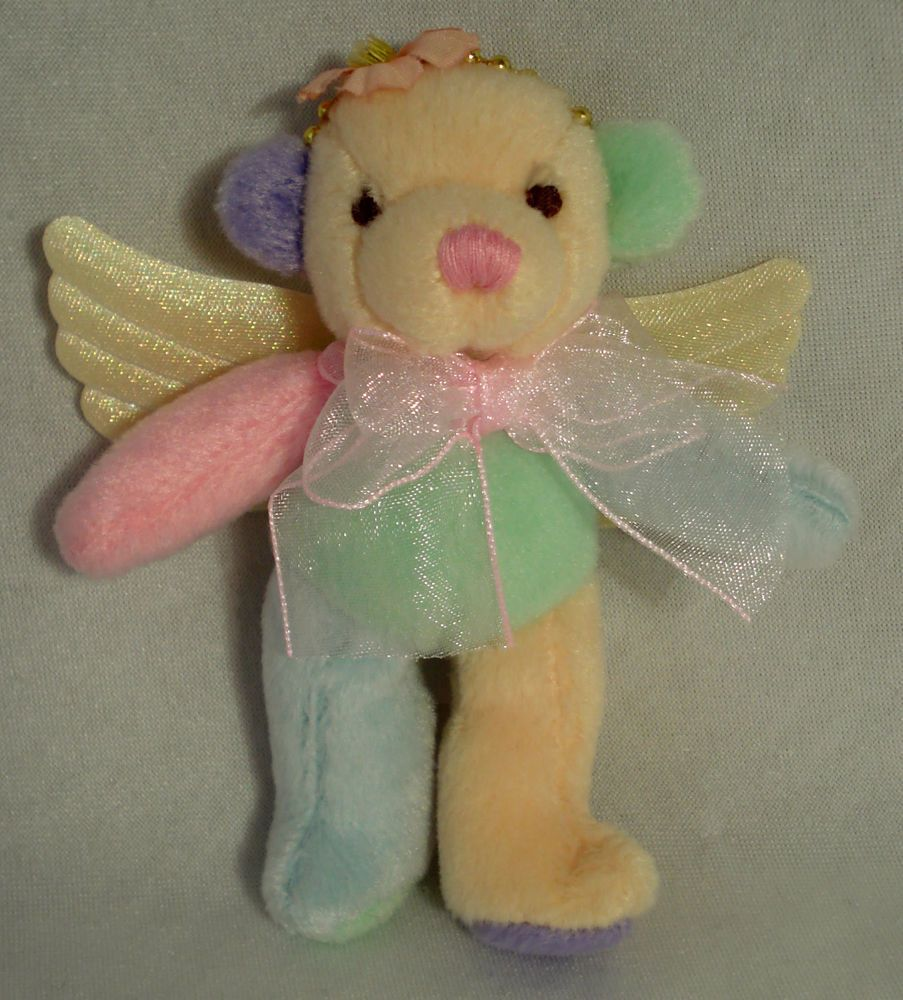 Rainbow FAIRY Bear Cute Adorable Teddy with wings & flower
