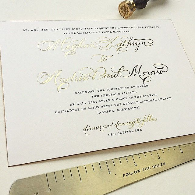 """""""So excited for this cute couple! Gold foil calligraphy accents (art by @scriptedcalligraphy) paired with pretty slate type and a finishing gold edge.…"""""""
