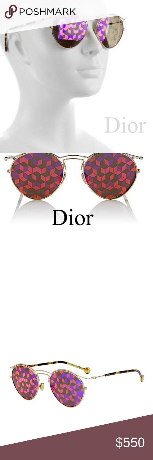 6185f3464a8c5 NEW Dior  Origins 1  Geometric Prism Sunglasses New with hard protective  case. Crafted of polished goldtone metal