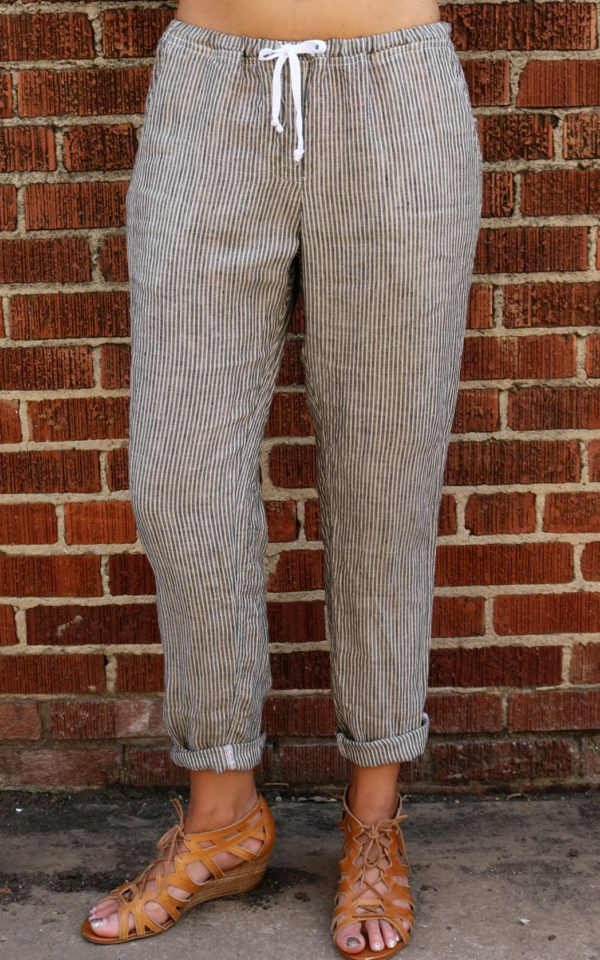 7e51e4fc0 Hampton Pant – River Rock Stripe by CP Shades Custom dyed pull on pant.  Elastic waist with white twill tie.. Faux fly & 2 side pockets.