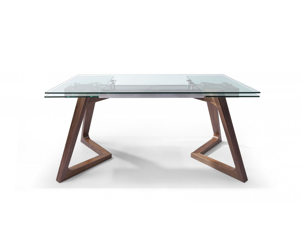 Extendable Dining Table With Wood Legs And Glass Table Top | #diningtable  #diningroom #