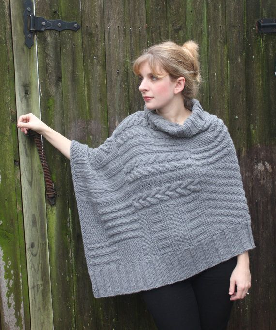 Reluxe Wrap Pattern Knit Wrap Poncho Shawl Using Chunky Weight