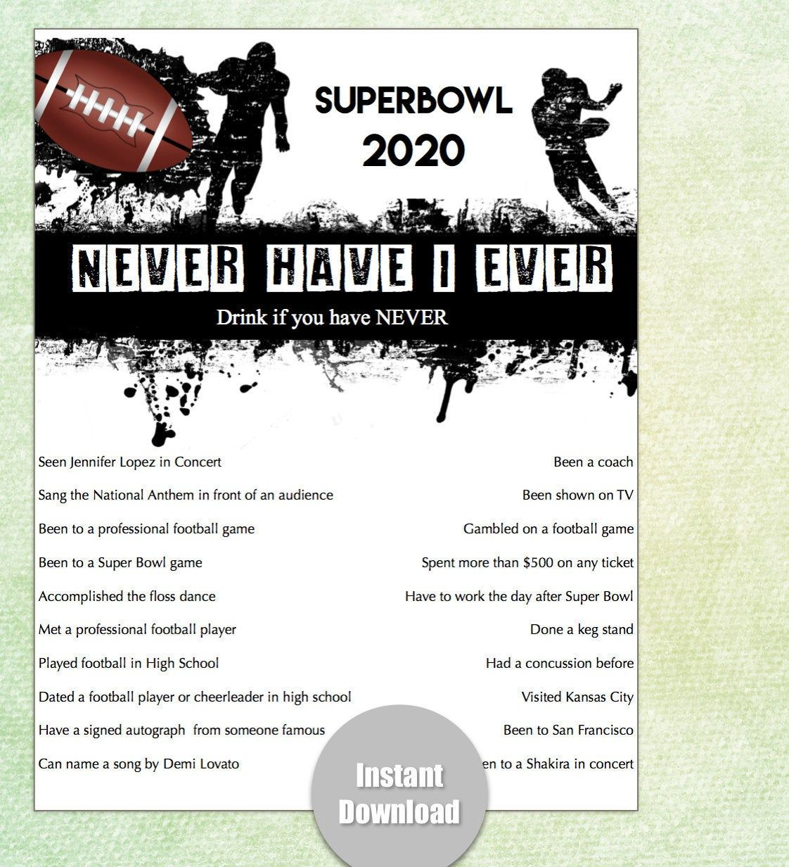 Superbowl Party Game