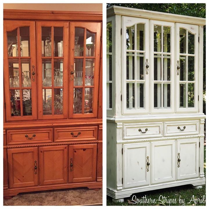 Before after china cabinet transformation with annie sloan chalk paint southern stripes - Annie sloan kitchen cabinets before and after ...