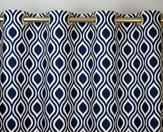 Pair Of Grommet Top Curtains In Navy Blue And White Slub Geometric Nicole  Print