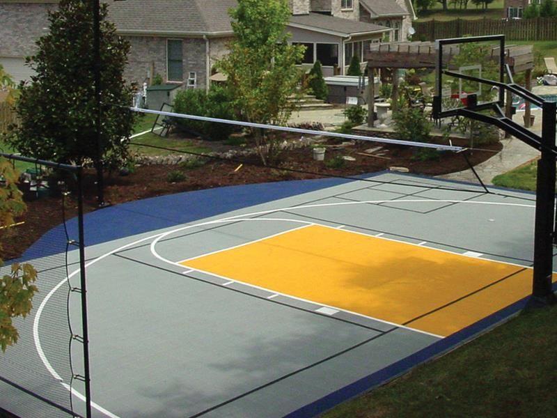 Backyard Basketball Court   Outdoor basketball court ...