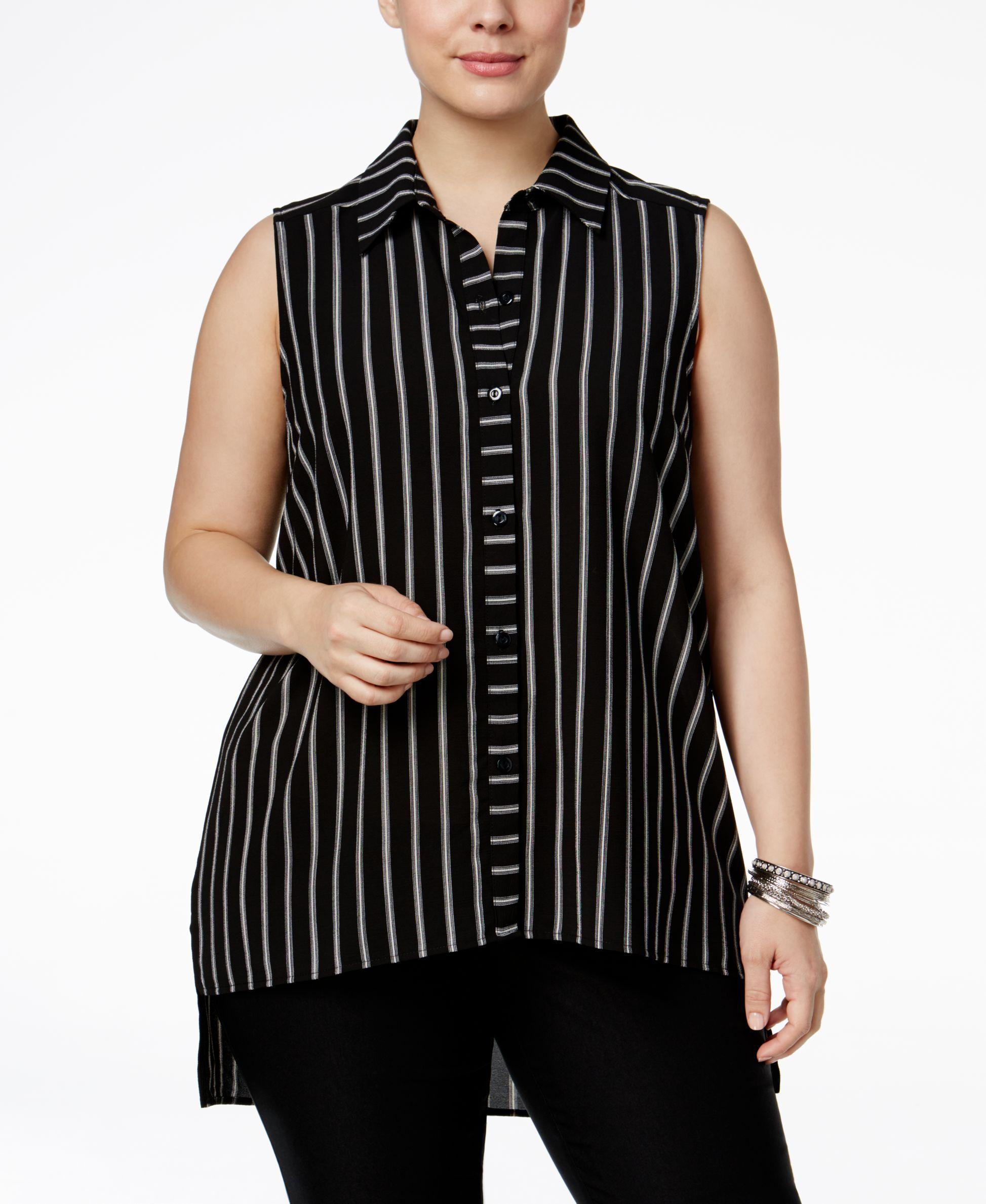 a09a3984bea Monteau Trendy Plus Size Striped Blouse