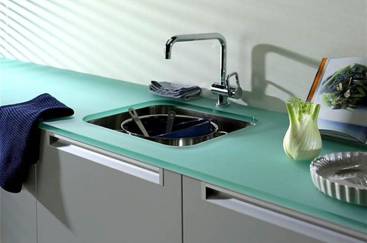 Kitchen, Tempered Glass Countertop In Tosca Color Square Stainless Steel  Sink And Faucet ~ Hot And Cheap Countertops