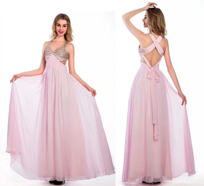 Floor-length Pink Chiffon V-neck Prom Dresses,Long Homecoming Dress,Sexy prom dress.Beading dress