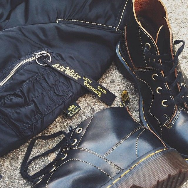 bafcb9f1 Dr. Martens CHURCH Monkey Boot and unisex Alpha Industries Jacket. Part of  the Spirit of 69 collection.
