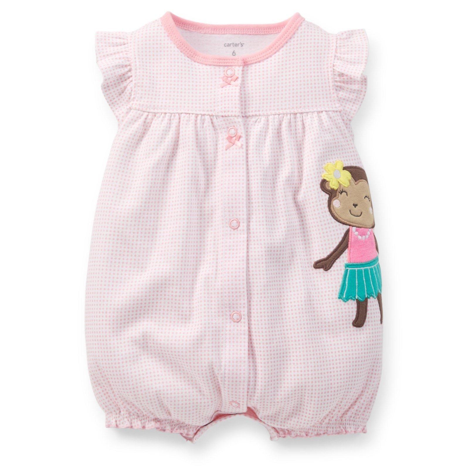 f80db4ebd Carter's Girls Monkey Applique Summer Romper Outfit Nwt 6M 9M 12M 18M 24M