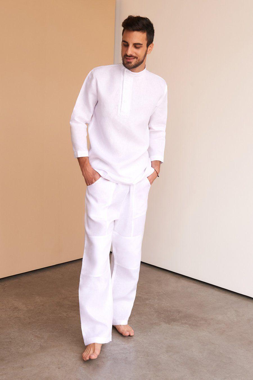 Sashy | Pants | Mens white linen suit