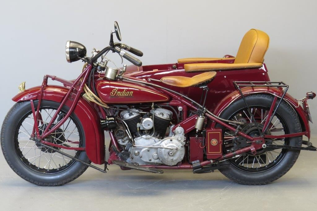 """Indian 1929 Scout """" 101"""" 750 cc side valve V-twin & sidecar frame # 6A80405A engine"""