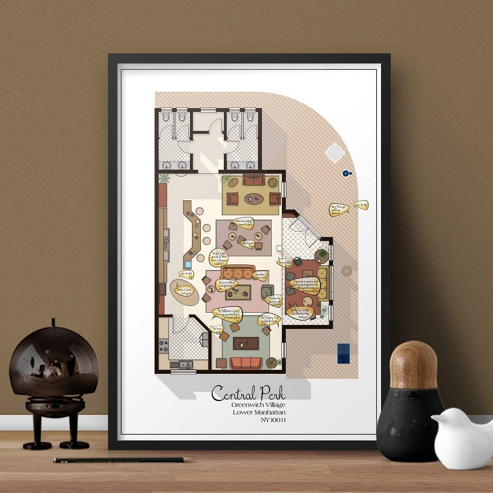 Central Perk Cafe Floor Plan Friends Tv Show Layout Interior With Quotes From
