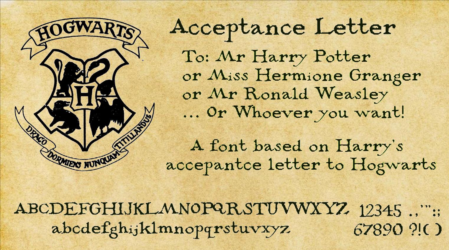 Hogwarts Acceptance Letter  Acceptance Letter By Decat On