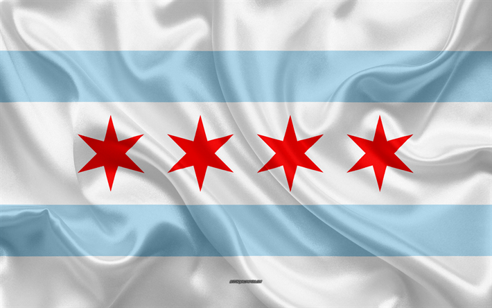 Download Wallpapers Flag Of Chicago 4k Silk Texture American City Blue White Silk Flag Chicago Flag Illinois Usa Art United States Of America Chicago Flag Of Chicago Flag Chicago Flag