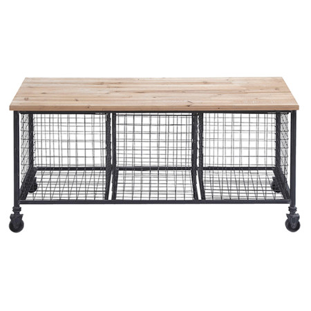 Industrial Style Storage Bench With 3 Wire Baskets A Wooden Seat
