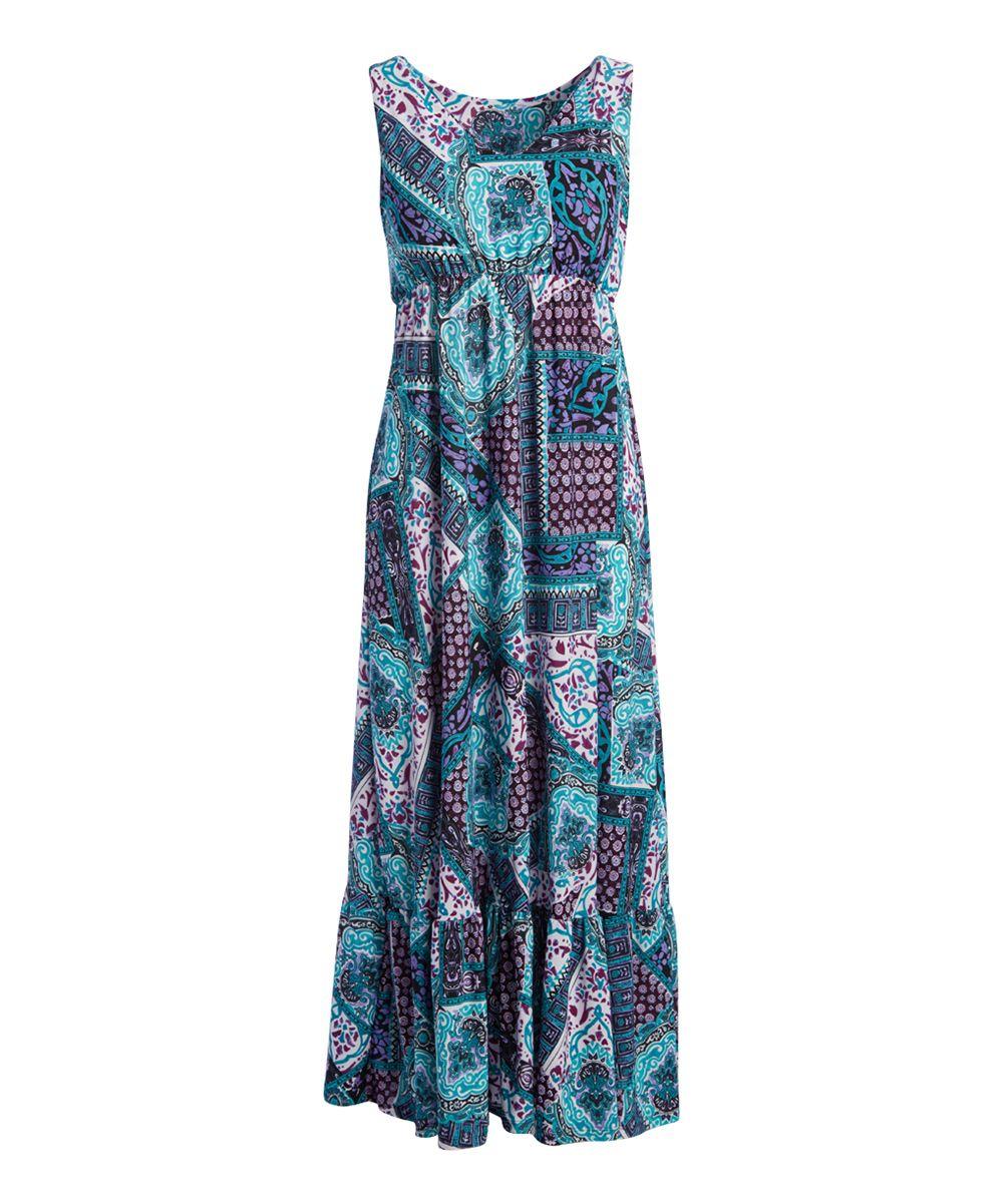 c3168b68c191 Aqua & Black Abstract Ruffle Maxi Dress | Products | Dresses, Black ...