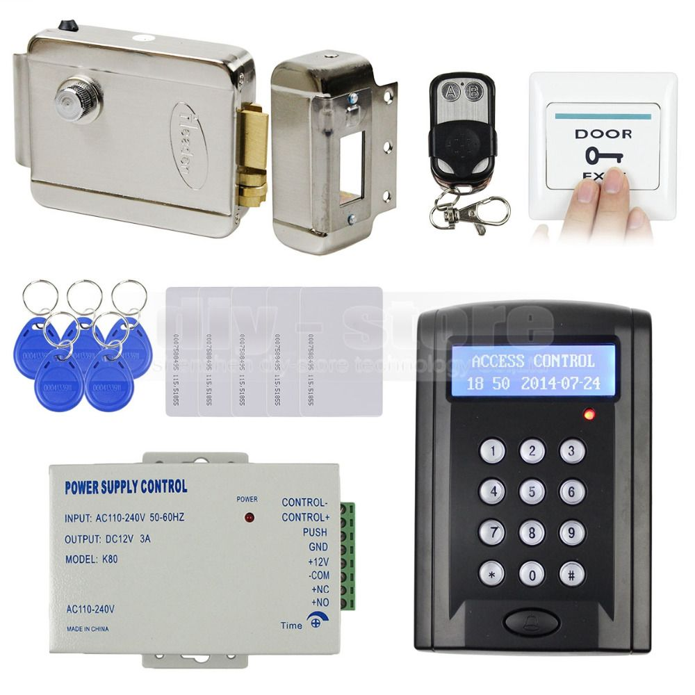 Diysecur Remote Control Rfid Keypad Door Access Control Security System Kit Electronic Door Lock Power Access Control Access Control System Electric Lock