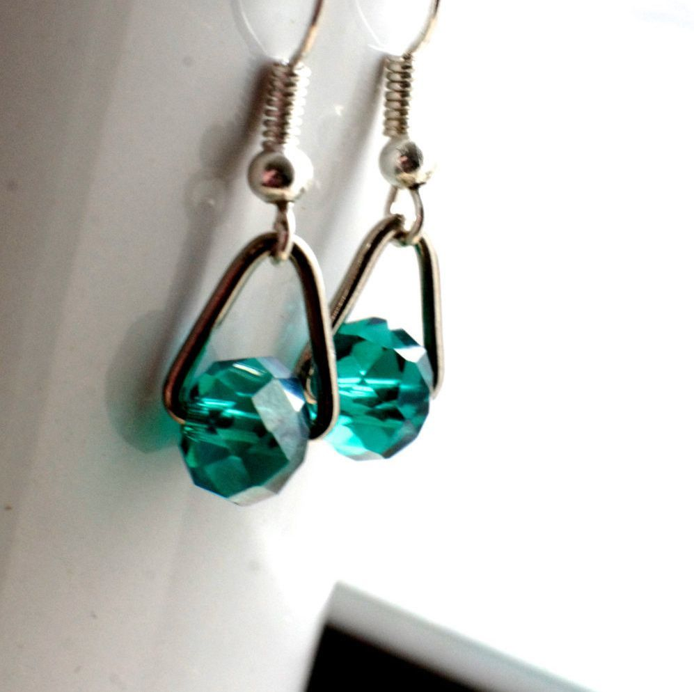 Green Suspended Dangle earrings,
