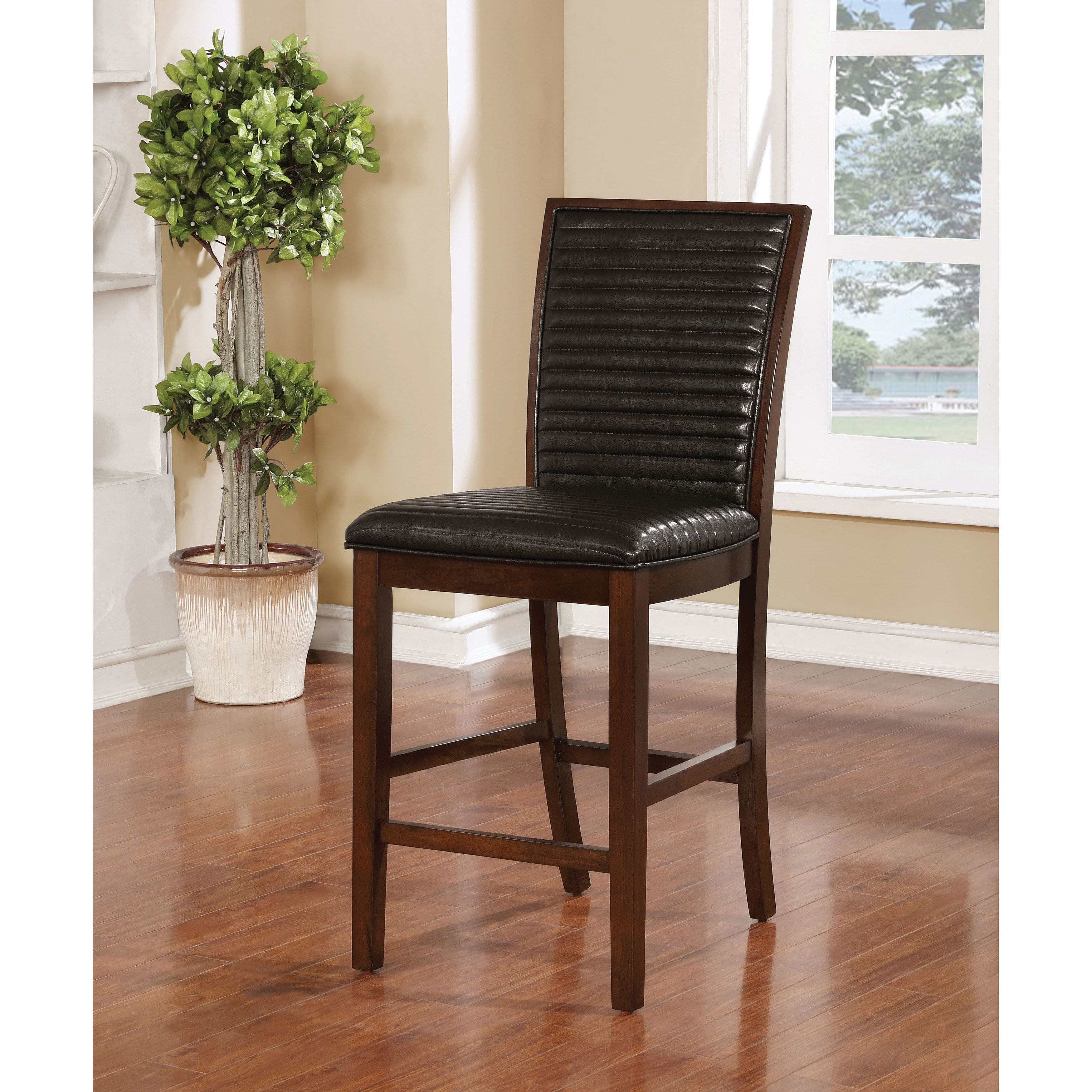 Furniture Of America Gileon Walnut And Espresso Ribbed Counter Height Chair  (Set Of 2