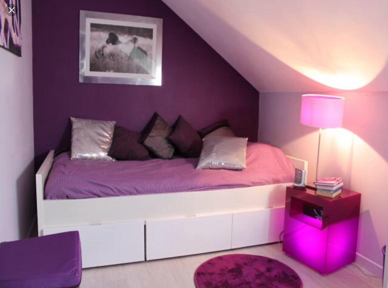 chambre violette et blanche ide dco - Deco Chambre Fille Rose Et Violet
