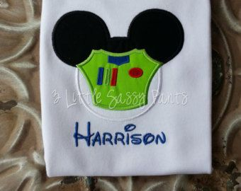 Buzz lightyear mickey mouse embroidered shirt applique toy story