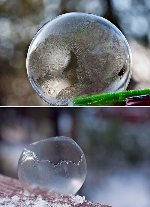 Take advantage of cold weather by making ice bubbles. | 24 Kids' Science Experiments That Adults Can Enjoy, Too