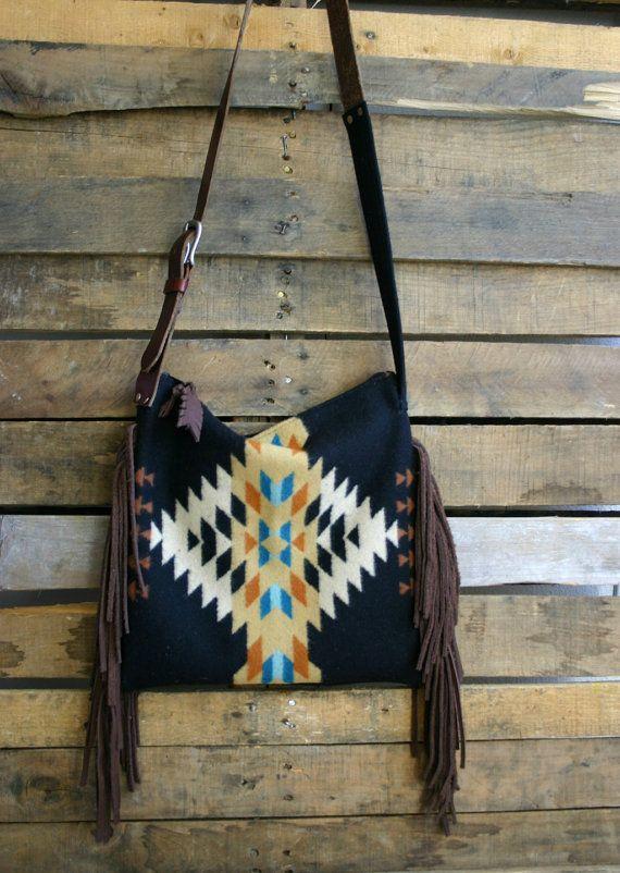 ab7190ae98 SALE 20% OFF Black Navajo print purse with fringe  boho fringe purse on  Etsy