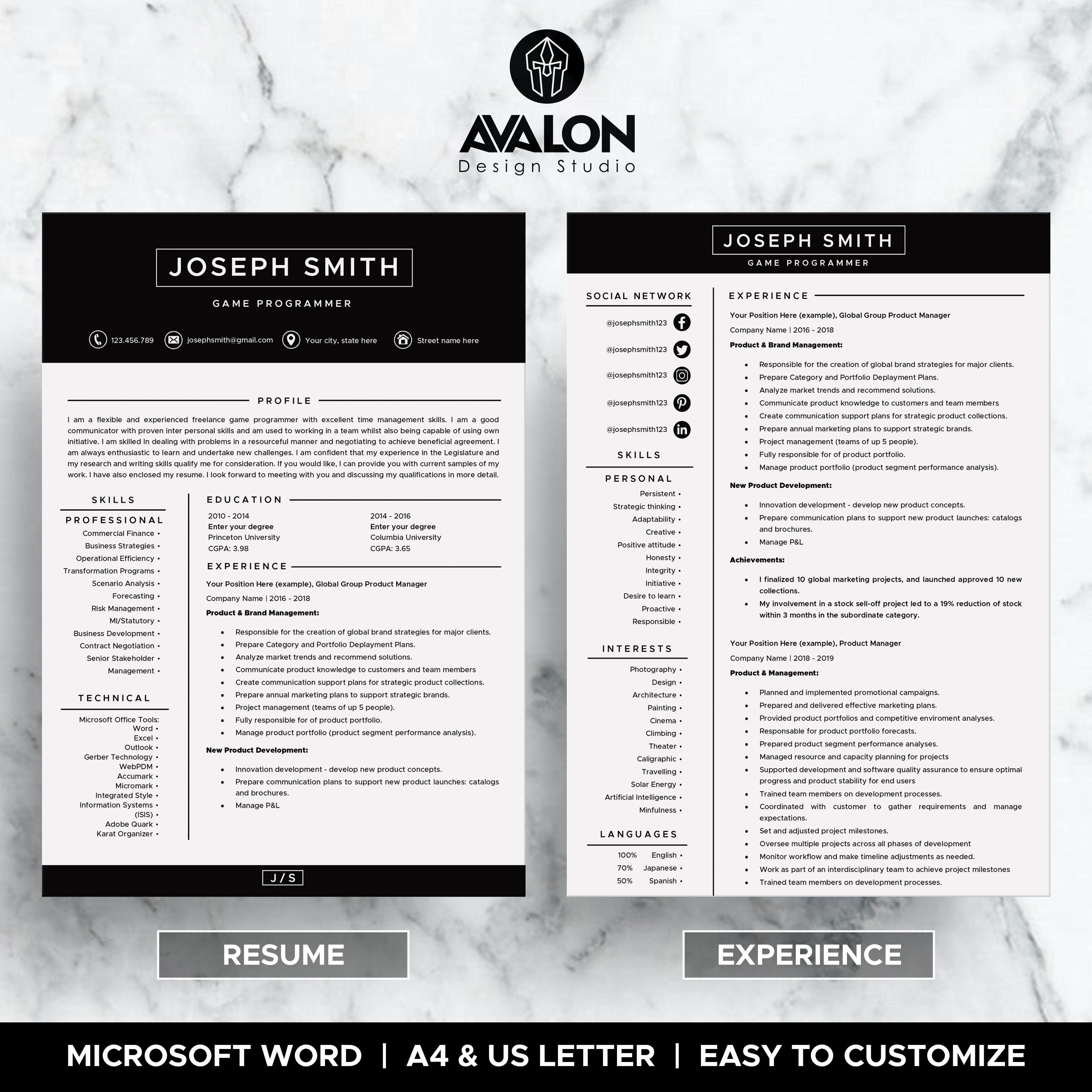 Plantilla de reanudación para MS Word ? 4 páginas