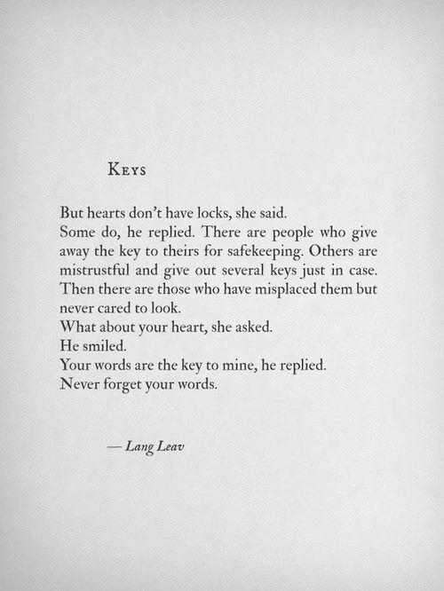 Lang Leav: Keys   Words, Pretty words, Lang leav Lang Leav Quotes On Friendship And Love
