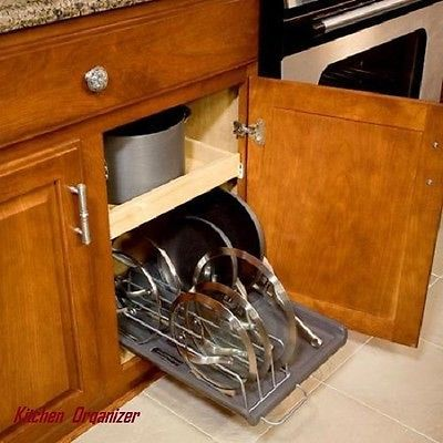 Kitchen Organizer Storage Rack Vertical Slide Out Lid U0026 Pan Under Cabinet  Pans