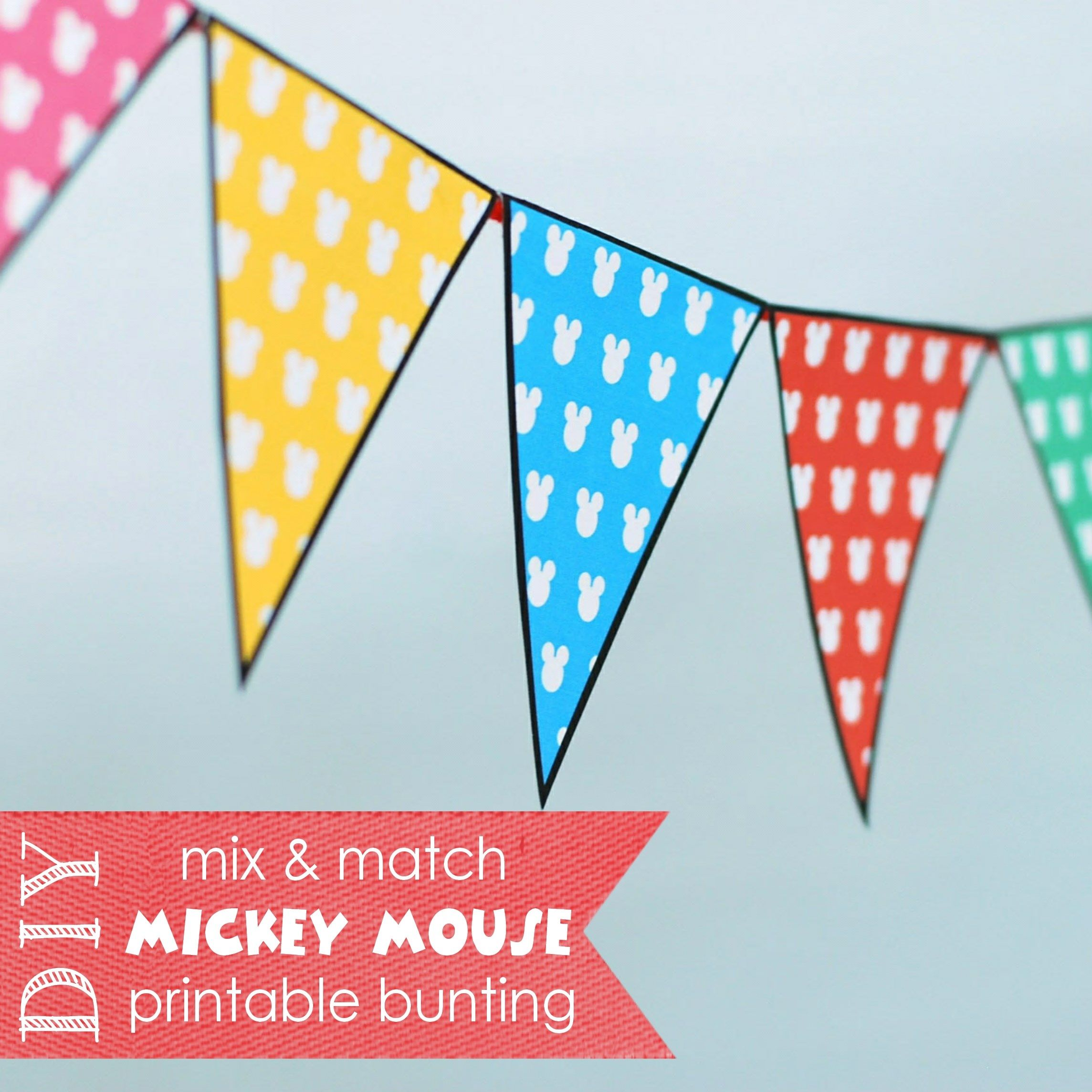 Free Printable {Mix & Match} Mickey Mouse Party Bunting