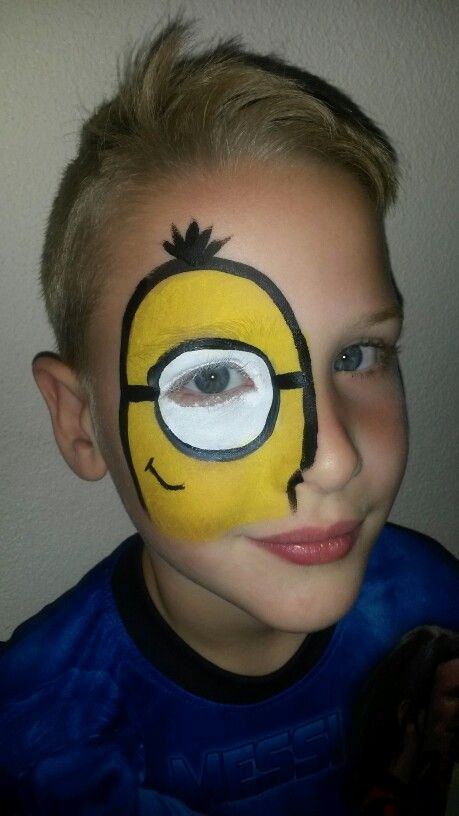 minion face painting idea face painting pinterest kinderschminken halloween und fasching. Black Bedroom Furniture Sets. Home Design Ideas
