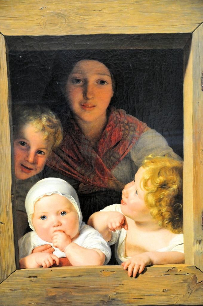Ferdinand Georg Waldmüller - Young Peasant Woman with Three Children at the Window (1840) at the Neue Pinakothek
