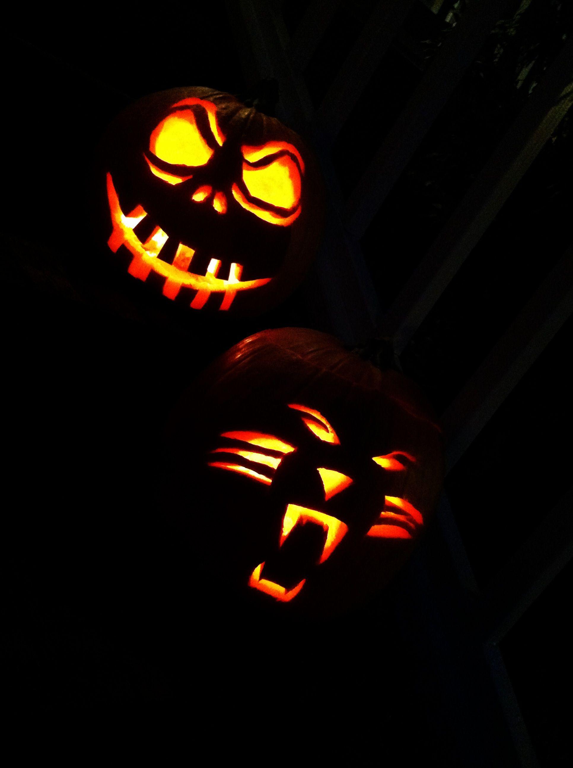 Nightmare before Christmas and Carolina Panther #halloween #pumpkins ...