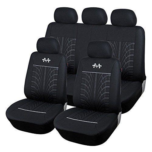Cl1002cb51 Carline Flags Black Fabric 9pcs Full Car Seat Covers