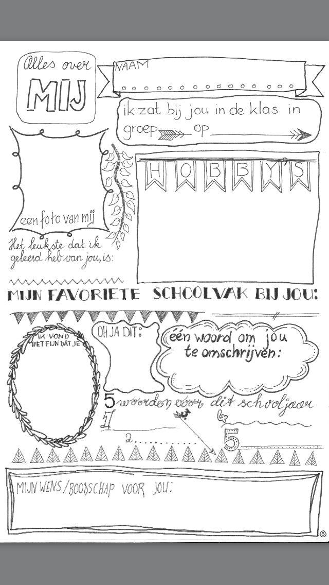 een blad wat je leerlingen kan laten invullen voor een