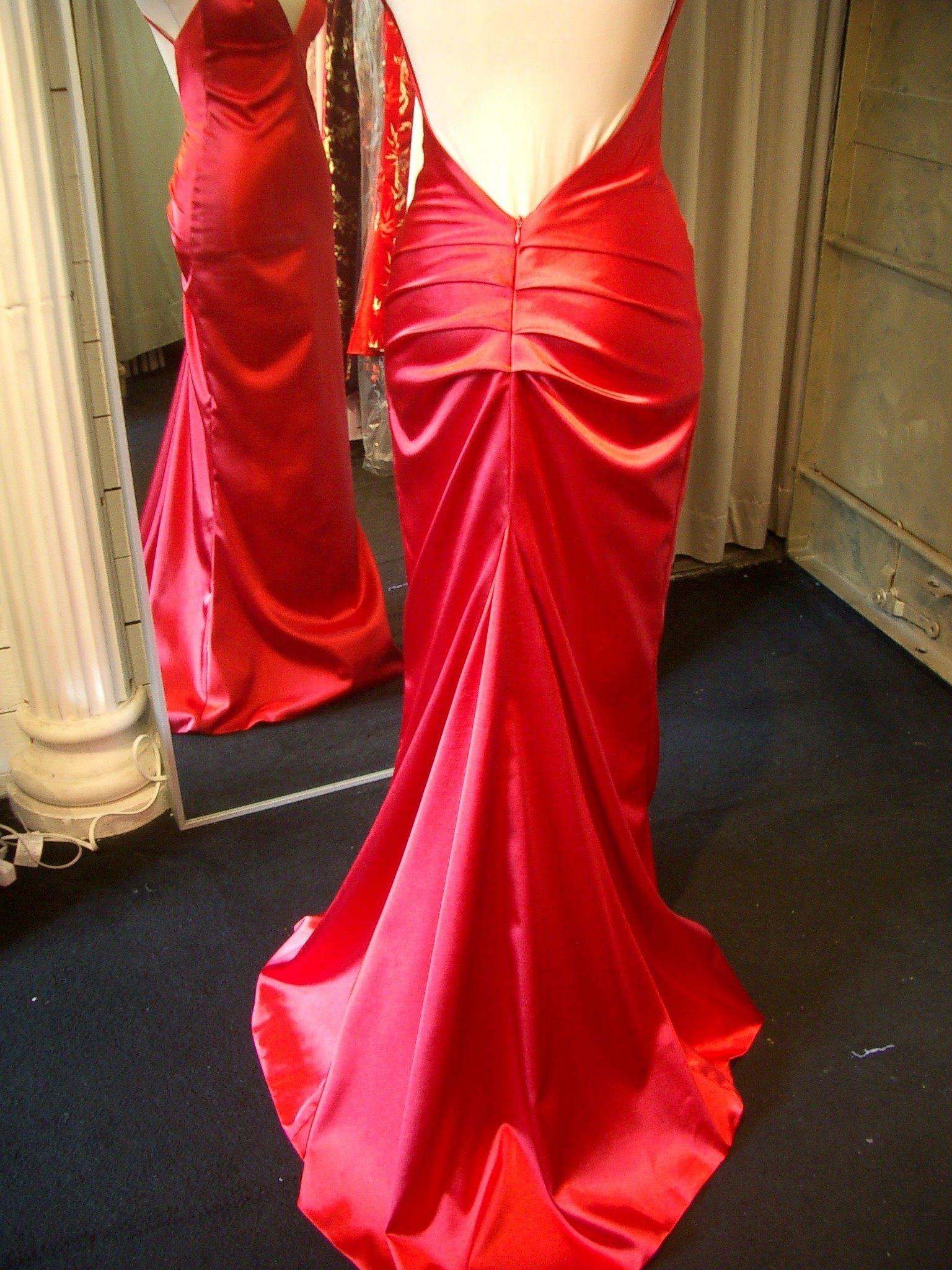 Red Satin Low Back formal dress Ric Yuenn- Vancouver bases ...