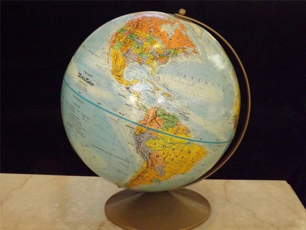 "REPLOGLE RELIEF 12"" GLOBE World Nation Series Atlas Table Desk Vintage  $29.99"