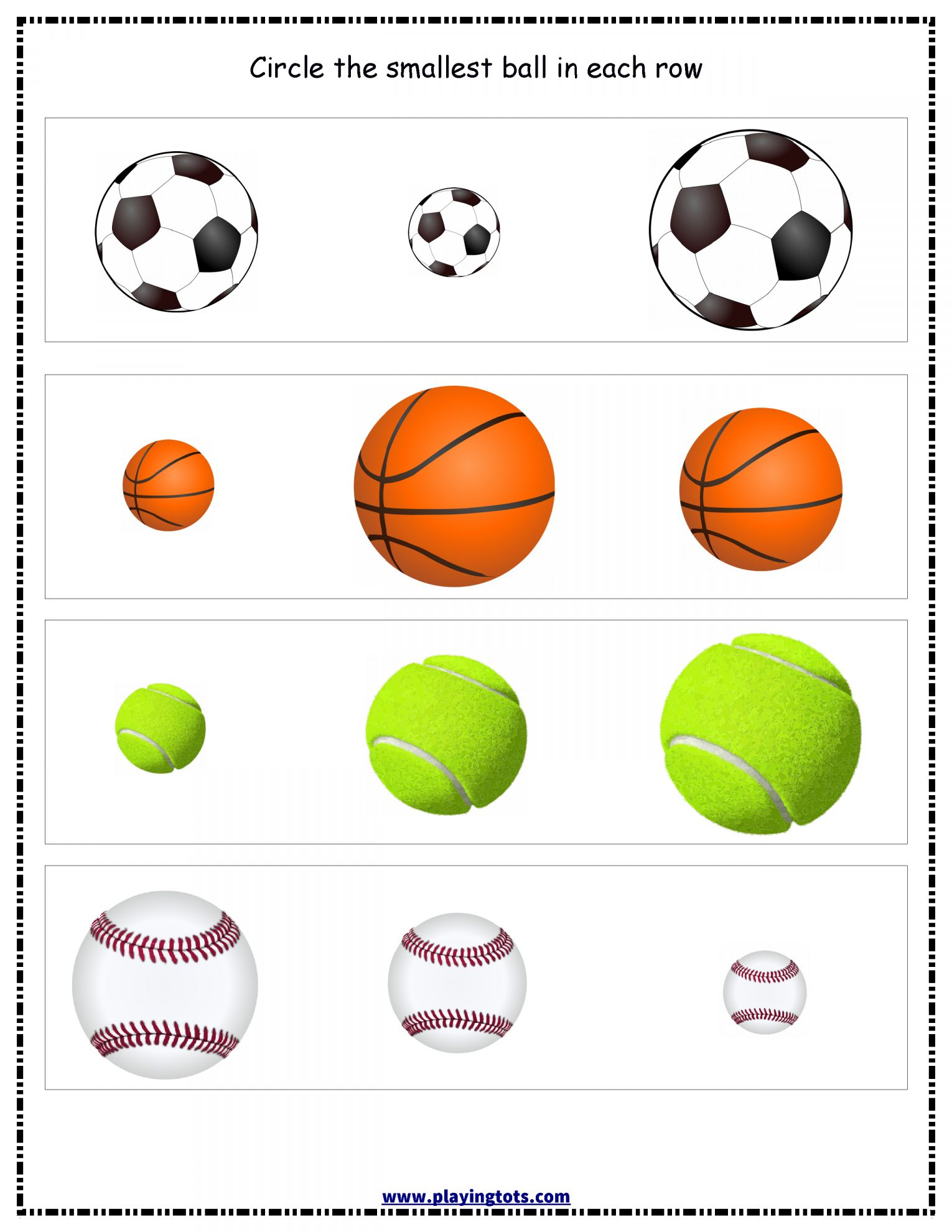 8 Preschool Worksheet For Ball Study