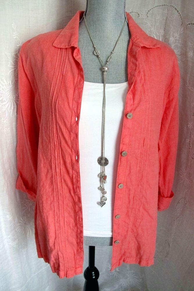 HOT COTTON Marc Ware Top Pink Coral Linen Resort Tunic Pintuck Shirt #linen#fashion#styel#casual#resort#deal