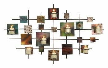 Candle Wall Art flickering grid contemporary candle wall art - wall candle holders
