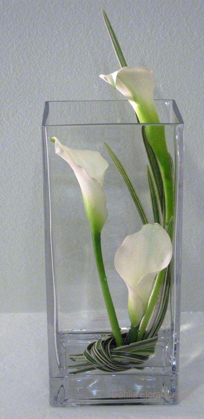 White Calla Lily Inside Vase Wedding Reception Table Centerpiece