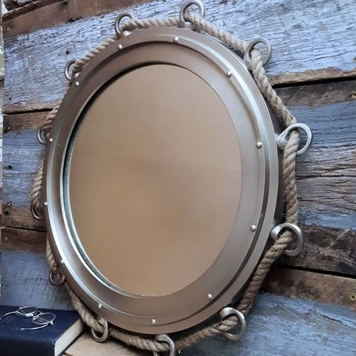 At Nearly 2 Feet Wide Our Pewter Finish Porthole Mirror With Rope Makes A Impression In Any Nautical Themed Room Without Putting Similar Sized Dent
