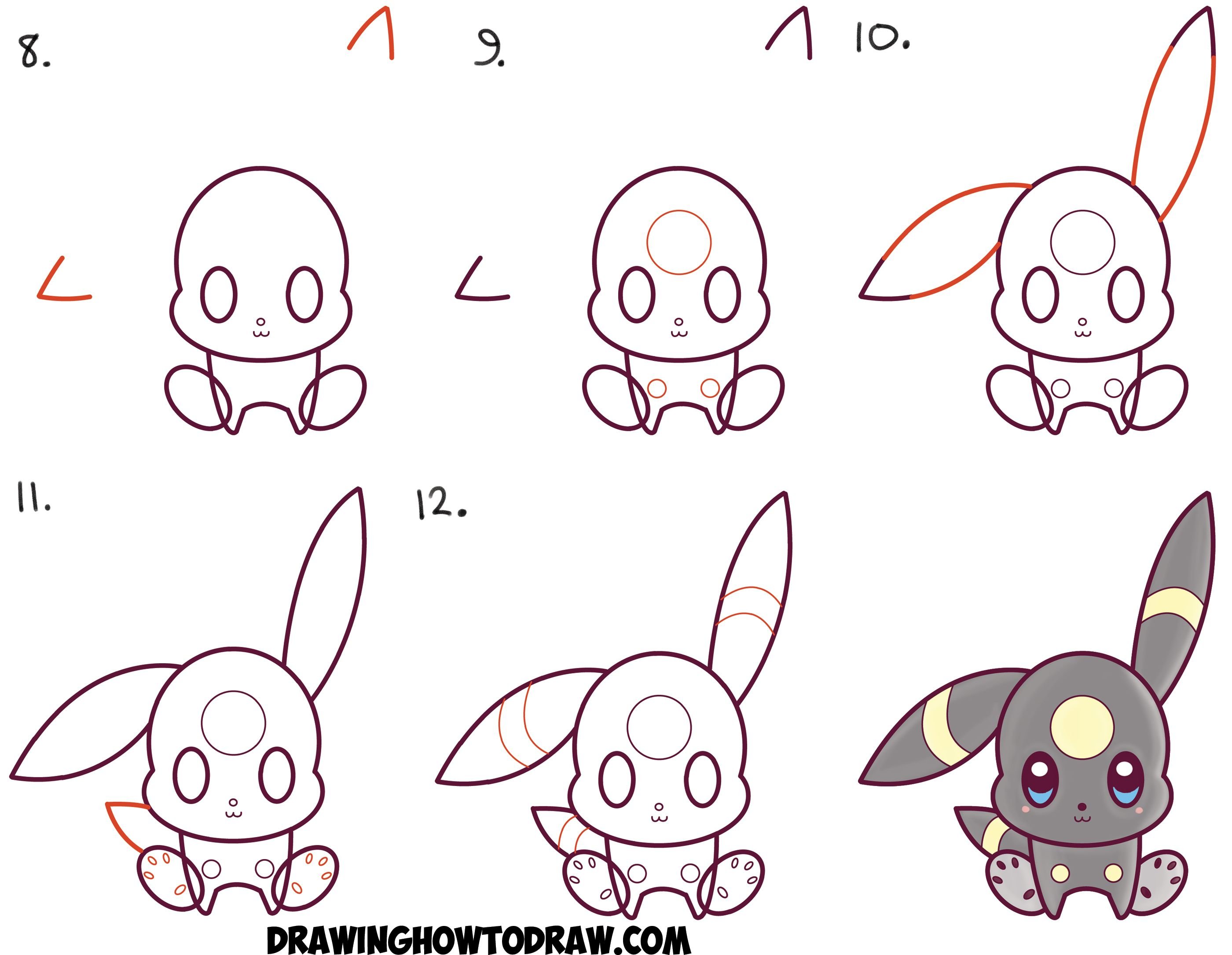 Uncategorized Pokemon That Are Easy To Draw how to draw cute kawaii chibi umbreon from pokemon easy step by drawing tutorial for kids chibis pinterest k