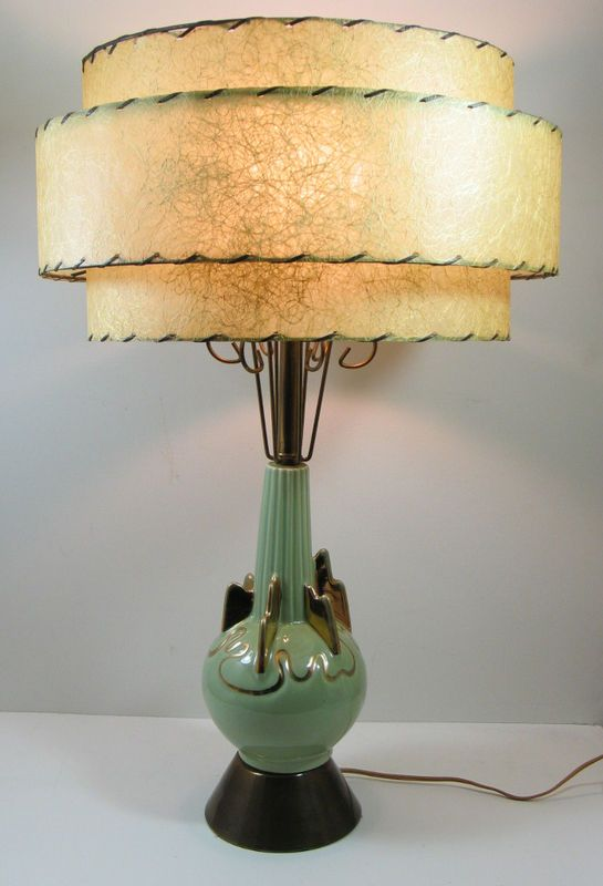 Atomic Eames Modern Art Ceramic Brass Table Lamp W 3 Tier Fiberglass Shade Lamp Vintage Lamps Table Lamp