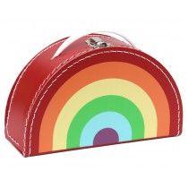 Half moon suitcase rainbow red
