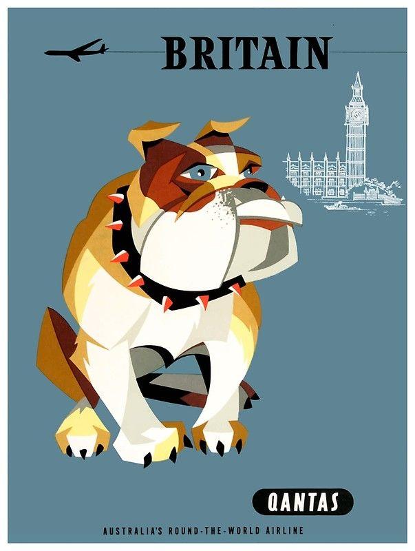 Qantas Bulldog England Great 1960 Qantas Britain Bulldog Travel